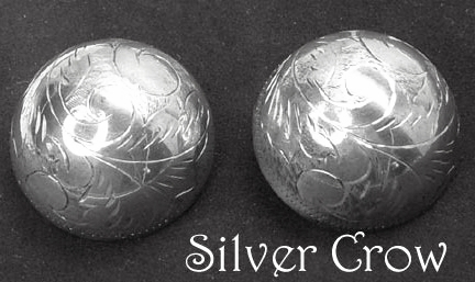 Vintage Sterling Silver Etched Dome Earrings