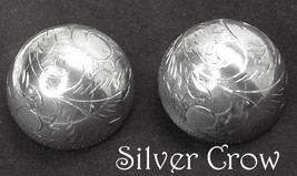 Vintage Sterling Silver Etched Dome Earrings  - $24.99