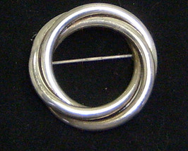 Vintage Sterling Silver Triple Circle Pin Brooch - $22.99