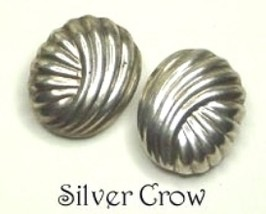 Vintage Sterling Silver Ribbed Swirl Earrings Clip On  - $20.99