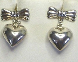 Sterling Silver Bow and Puffed Heart Earrings - $20.99