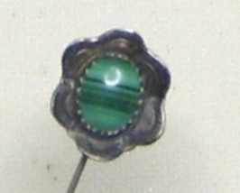 Vintage Sterling Silver & Malachite Stick Pin - $14.99