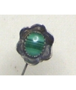 Vintage Sterling Silver & Malachite Stick Pin - $14.99