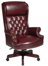 Deluxe High Back Swivel Office Oxblood Burgundy Vinyl Traditional Chair - $299.99