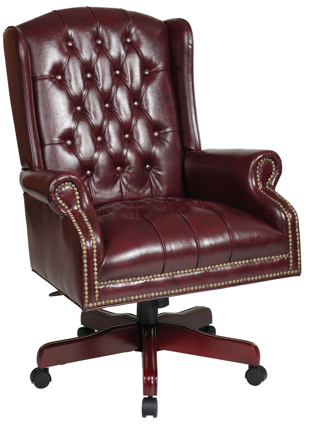 High Wing Back Swivel Lounge Oxblood Burgundy Vinyl
