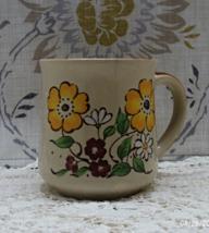 Vintage Mid Century Floral Design Retro Coffee Mug // Stoneware Cup - $8.00