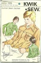 "Kwik Sew Sewing Pattern 426 Boys Junior Jean Jacket Chest Size 30"" - 34.... - $16.99"