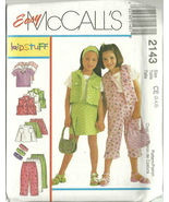 McCall's Sewing Pattern 2143 Girls Top Vest Pan... - $9.98