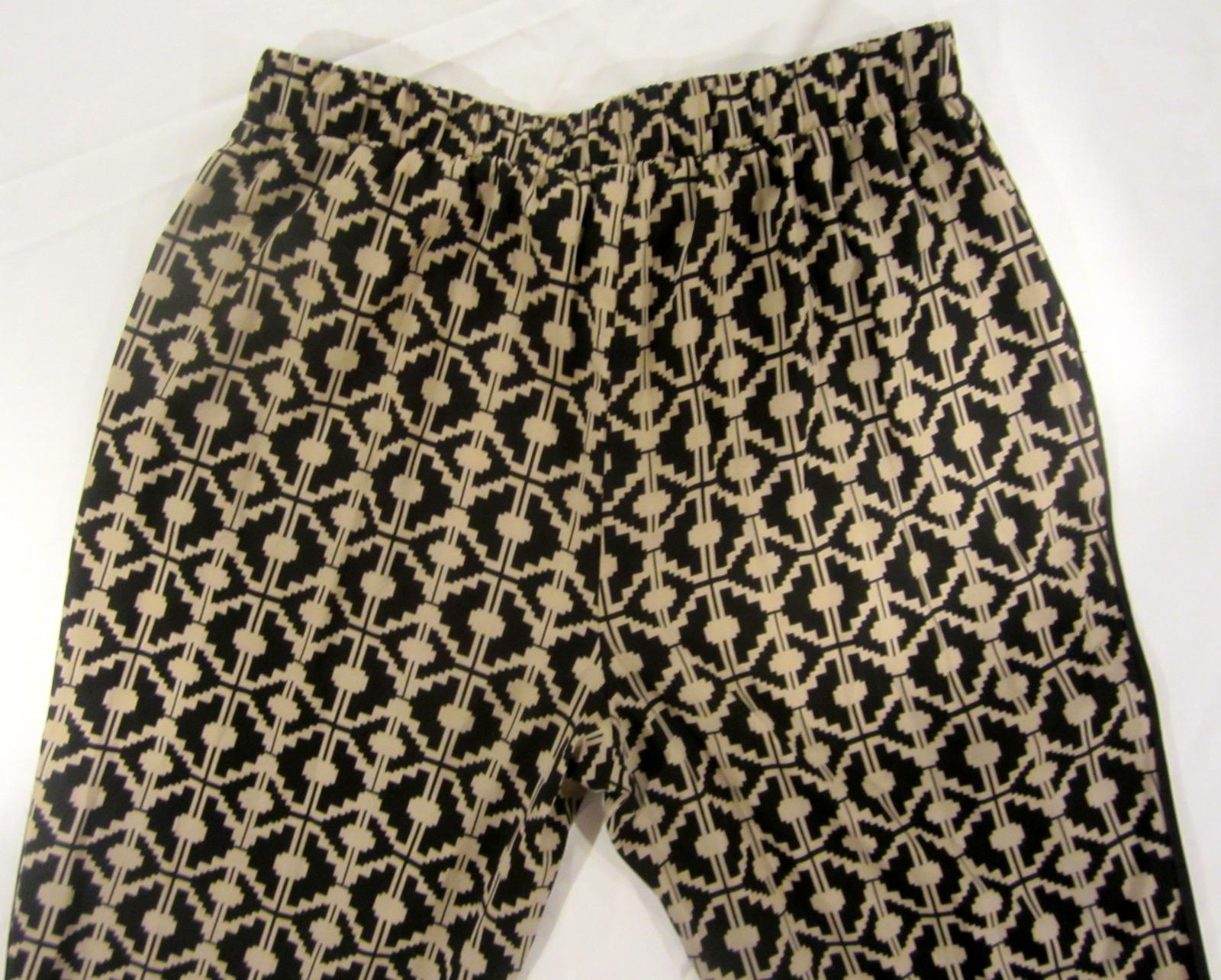 Forever 21 Print Ankle Pants sz L beige & black print