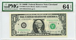 FR. 1905D 1969B $1 Federal Reserve Note Cleveland PMG Choice Unc 64 EPQ - $33.95