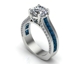 Blue Sapphire and Diamond Engagement Ring 14 k - $1,295.00