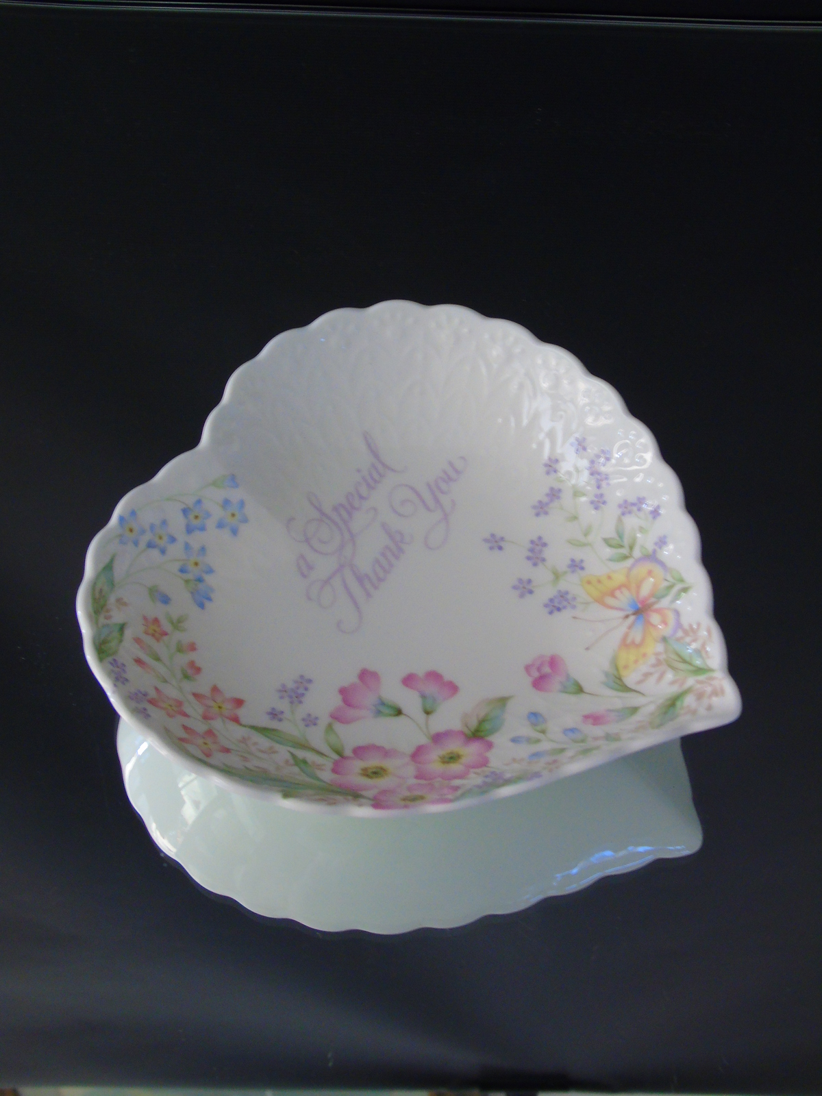 A special thank you heart shaped floral dish mikasa bone for Mikasa china