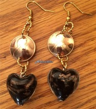 1976 Lucky Penny Black Glass Heart Earrings 40th Birthday Anniversary Valentine - $14.84