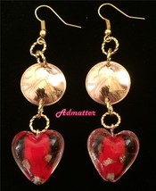 1976 Lucky Penny & Glass Heart Earrings 40th Birthday Anniversary Valentine Gift - $14.84