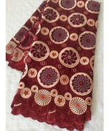 African Women Swiss Voile Lace w/ RhineStone Red High Quality Clothing F... - $145.95