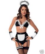 Escante Retro Maid Bra 6pc Set White/Black O/S Costume Lingerie - $29.99