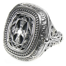 Gerochristo 2602 -Sterling Silver Medieval Byzantine Cross Poison Ring ... - $305.00