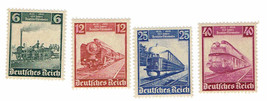 1935 German Railway Set of 4 Germany Postage Stamps Catalog Number 459-62 Mint