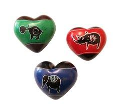Set of Three Handcrafted Mini Soapstone Hearts - Smolart - $19.95