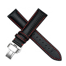 22mm Black Carbon Fiber Leather Watch Band Strap Made For Citizen Eco-Drive - $37.39