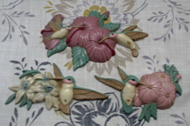 Vintage Burwood Product Co. Molded Plastic Hummingbird Wall Hangings - $9.50