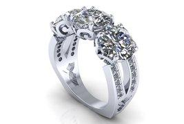 Three Stone Engagement Ring 14 k White Moissanite - $1,795.00
