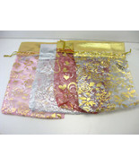 """4 Jewelry Pouches String Bags Organza 7""""X 5"""" INDIA - $1.53"""