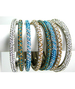 Crystal Rhinestone Bangle Bracelets Lac Kada Swarovski Quality BellyDanc... - $13.95