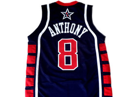 Carmelo Anthony #8 Team USA BasketBall Jersey Navy Blue Any Size  image 2