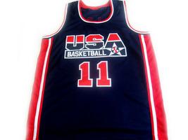 Karl Malone #11 Team USA BasketBall Jersey Navy Blue Any Size  image 1