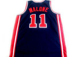 Karl Malone #11 Team USA BasketBall Jersey Navy Blue Any Size  image 2