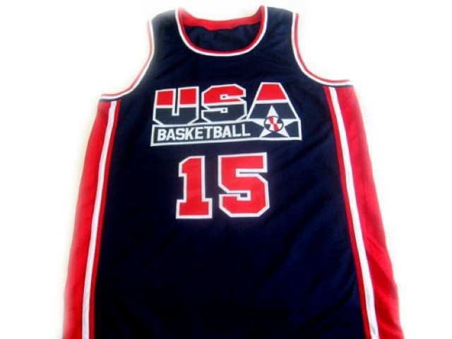 Magic Johnson #15 Team USA Basketball Jersey Navy Blue Any Size
