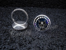 925 Sterling Silver Adjustable Ring Wiccan Black Cat Familiar Moon Phases - $34.65