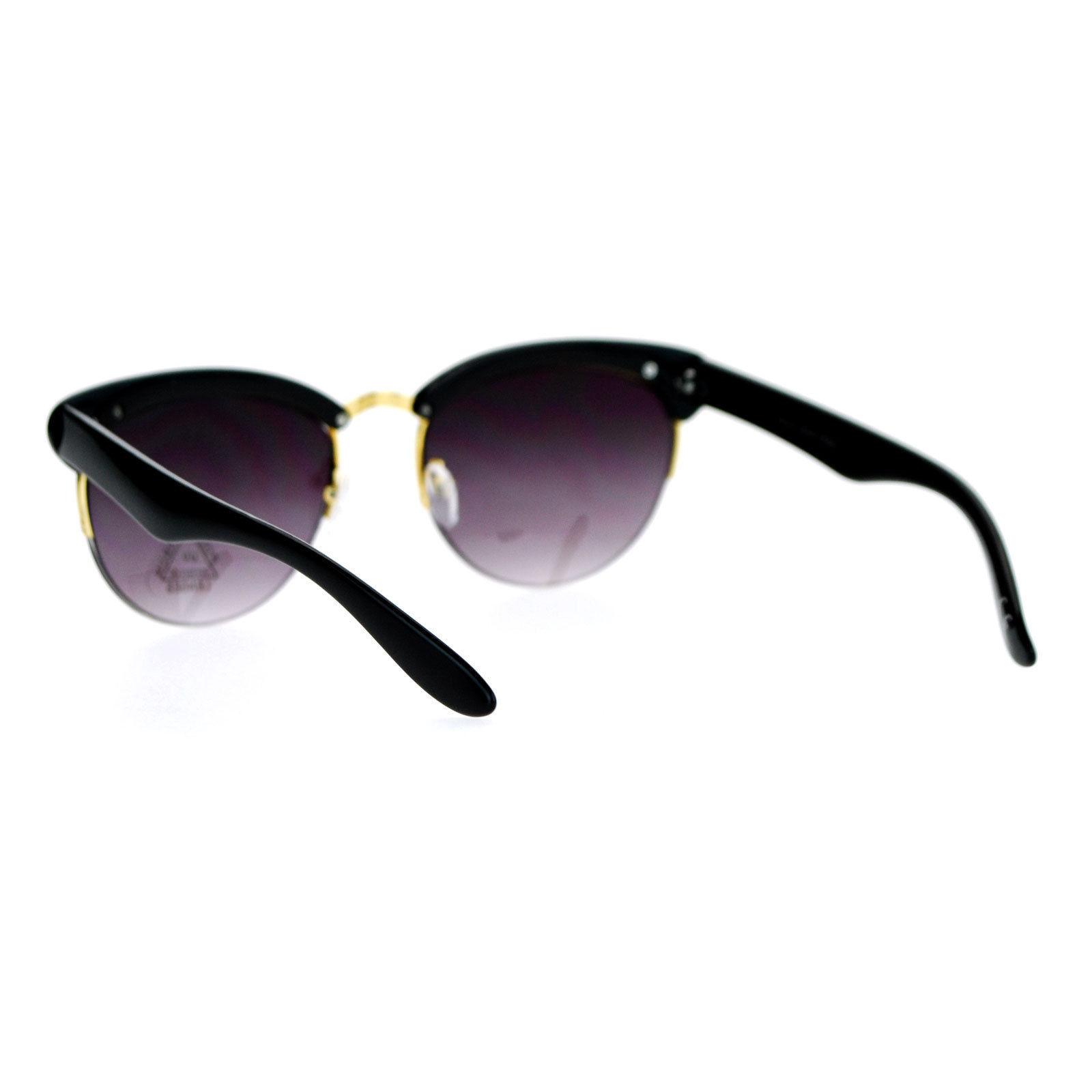 Womens Half Rim Sunglasses Round Cateye Top Fashion Eyewear