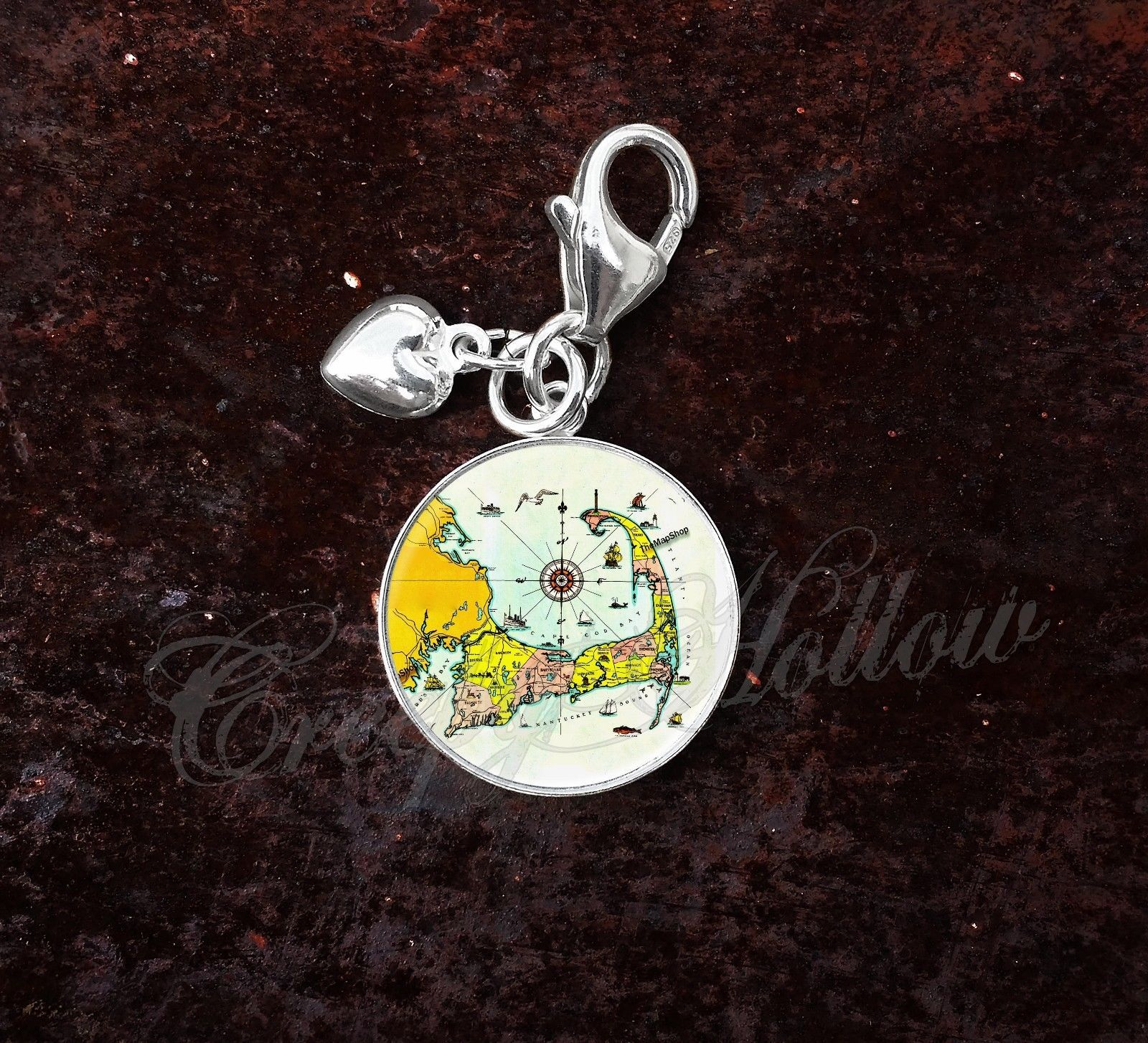 925 Sterling Silver Charm Cape Cod Map Cartography