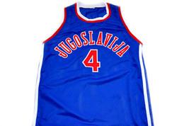 Drazen Petrovic #4 Jugoslavija Basketball Jersey Blue Any Size image 1