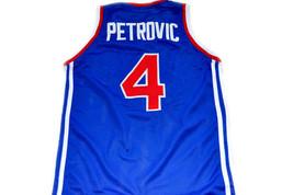 Drazen Petrovic #4 Jugoslavija Basketball Jersey Blue Any Size image 2