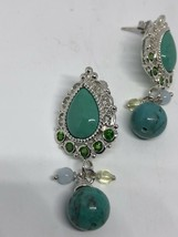 Vintage Real Turquoise Chrome Diopside 925 Sterling Silver Chandelier Ea... - $130.68