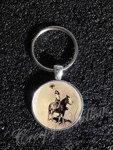 Cowgirl Girl on Horse Vintage Photo Old Picture Keychain - $14.00+