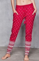 New Victoria's Secret A Kiss Of Cashmere Red Fair Isle Sweater Jogger Pants. Lg - $45.00