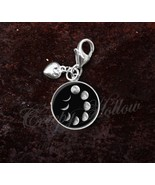 925 Sterling Silver Charm Cycles Of the Moon Waxing Waning Phases - $25.25
