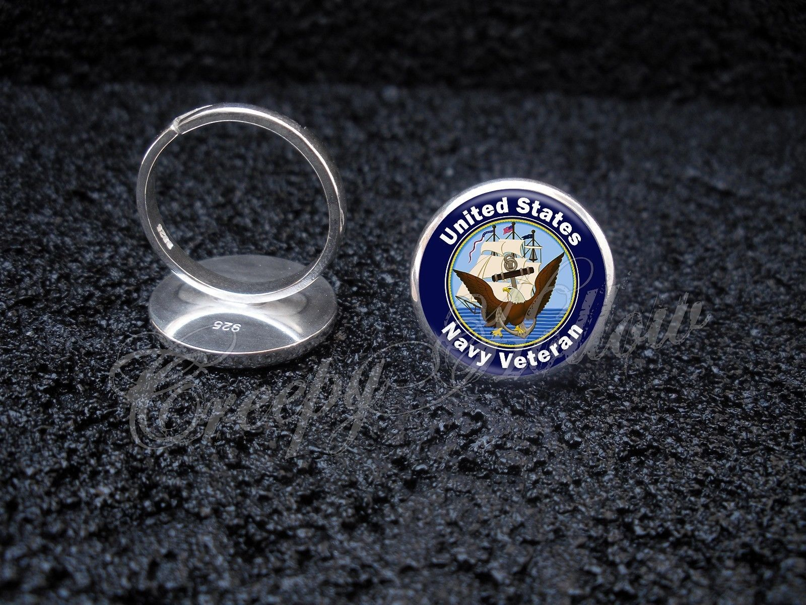 Primary image for 925 Sterling Silver Adjustable Ring United States Navy Veteran