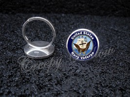 925 Sterling Silver Adjustable Ring United States Navy Veteran - $34.65