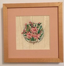 """9"""" X 9"""" Pretty August Ribbon Flowers French Knot Embroidery Name Birth M... - $13.32"""