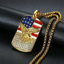 Hip-hop American Flag Eagle Necklace Pendant Men Women Golden Necklace Jewelry - $9.16+