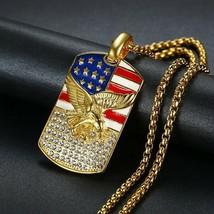 Hip-hop American Flag Eagle Necklace Pendant Men Women Golden Necklace J... - $9.16+