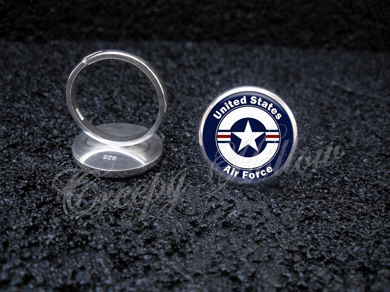 Primary image for 925 Sterling Silver Adjustable Ring United States Air Force Veteran