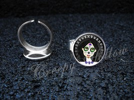 Sugar Skull Girl Dia De Los Muertos Silver Plated Adjustable Ring - $13.00