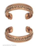 "Two (2) COPPER MAGNETIC CUFF Bracelet w/ ""Therapy"" MAGNETS ~ Nice wide b... - £12.19 GBP"