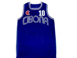 Drazen Petrovic #10 Cibona Croatia Basketball Jersey Blue Any Size  image 1